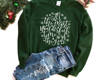 Christmas Sweatshirt - Holiday Sweatshirt - Christmas Quote Sweatshirt | It's the Most Wonderful Time of Year