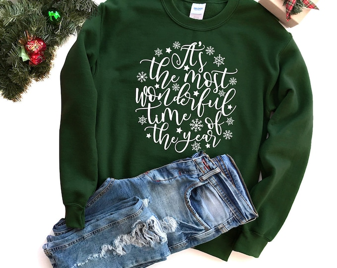Featured listing image: Christmas Sweatshirt - Holiday Sweatshirt - Christmas Quote Sweatshirt | It's the Most Wonderful Time of Year