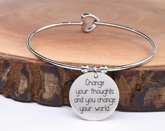 Inspirational Bracelet - Charm Bracelet - Stainless Steel Bracelet - Silver Bracelet | Change Your Thoughts