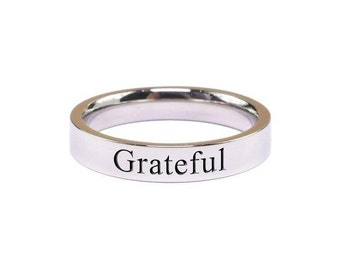 Stainless Steel Ring - Women's Engraved Ring - Stackable Band Ring - Dainty Ring - Bridesmaid Gift - Comfort Fit  | Gratitude + Grateful