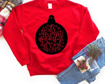 Christmas Sweatshirt - Holiday Sweatshirt - Christmas Quote Sweatshirt | It's the Most Wonderful Time of Year Ornament