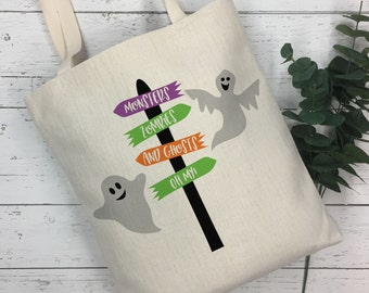 Halloween Treat Bag  - Trick-or-Treat Bag - Halloween Tote Bag | Monsters Zombies and Ghosts Bag