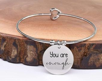 Inspirational Bracelet - Charm Bracelet - Mental Health Awareness - Silver Bracelet | You Are Enough