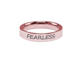 Stainless Steel Ring - Rose Gold Ring - Engraved Ring - Stackable Band Ring - Bridesmaid Gift - Comfort Fit  | Fearless