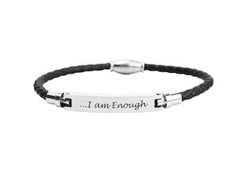 Inspirational Bracelet - Genuine Leather Bracelet - Bridesmaids Gift - Stainless Steel Bracelet | I Am Enough
