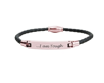 Inspirational Bracelet - Genuine Leather Bracelet - Bridesmaids Gift - Stainless Steel, Rose Gold Bracelet | I Am Tough
