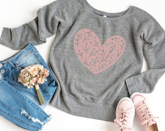 Happiness Sweatshirt - Heart Sweatshirt - Off the Shoulder Sweatshirt | Graphic Heart in Blush