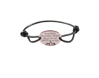 Inspirational Bracelet - Genuine Leather Bracelet - Rose Gold Bracelet | You Are Braver, Stronger, Smarter,