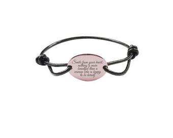 Inspirational Bracelet - Genuine Leather Bracelet - Rose Gold Bracelet | Smile From Your Heart