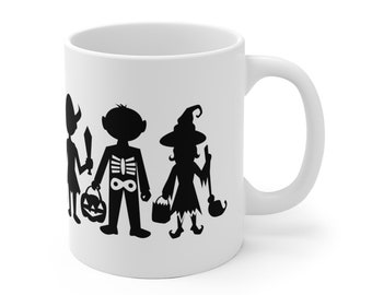 Motivational Mug   Quote Coffee Mug   Coffee Mug   Halloween Trick-Or-Treaters Silhouettes