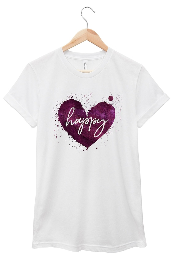 Happy Heart | Quote T-Shirt, Jersey Short Sleeve Tee, Multiple Colors