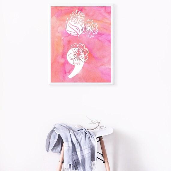 Watercolor Flower Semicolon | Mental Health Suicide Semicolon Poster