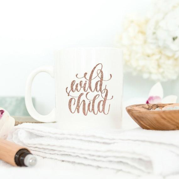 Wild Child   Rose Gold and White Ceramic Coffee Tea Mug, 2 Sizes