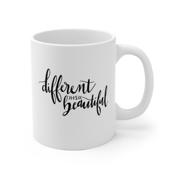 Different is Beautiful | White Ceramic Coffee Tea Mug, 2 Sizes