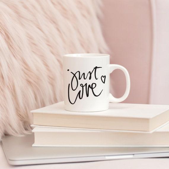 Just Love | White Ceramic Coffee Tea Mug, 2 Sizes