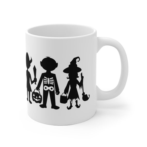 Motivational Mug | Quote Coffee Mug | Coffee Mug | Halloween Trick-Or-Treaters Silhouettes