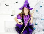 Toddler-Girls Witch Witch costume for girl Halloween Witch Costume Toddler witch dress Purple tutu skirt Tutu Witch