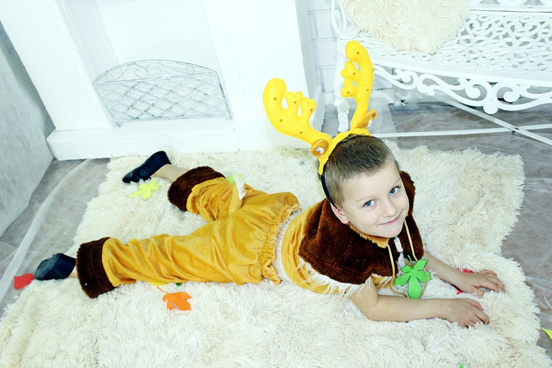 Suit deer Party deer costume Reindeer horn Vest and pants for the boy Yellow suit for the boy Suit for Halloween