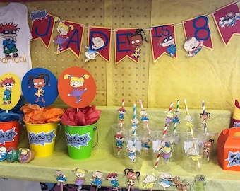 6aa22f3e35cd3 Rugrats Birthday party (will customize banner and tshirt to your childs  name and character)