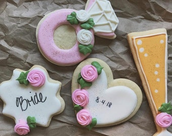 "Handcrafted ""Think Pink"" Bridal Shower Cookies"