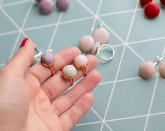 Set Of Three Rings - Lilac Ring - White Ring - Mint Ring - Pink Gold Colour - Ready To Ship