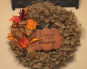 Count Your Blessings Burlap Wreath