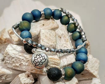 Hot for Summer! Stone Bracelet Set with Lotus Charm