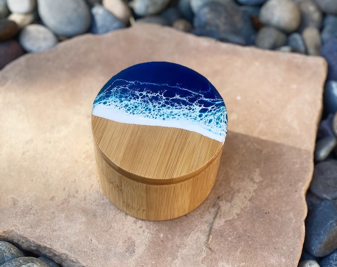 Featured listing image: Bamboo Resin Ocean Spice/Trinket Box