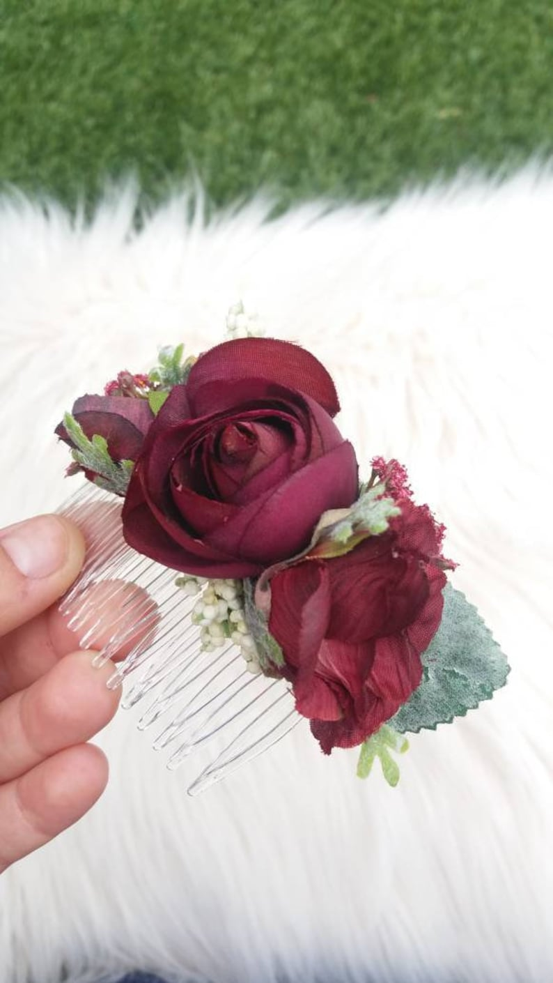 Bridal Floral Hair Comb Floral Hair Comp Burgundy Hair Comb Hair Pick Bridal Updo Hair Piece