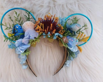 Dory and Bruce, Finding Nemo, Ocean, Disney Ears Inspired Floral Wire Flower Crown Minnie Mickey Mouse Headband Flower and Garden Festival