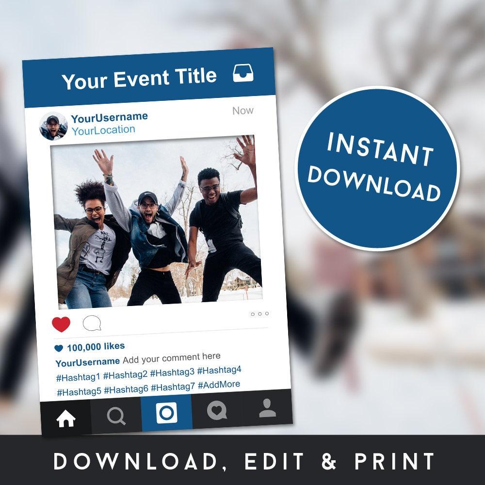 Selfie Rahmen Instagram Zeichen Geburtstag Rahmen | Etsy