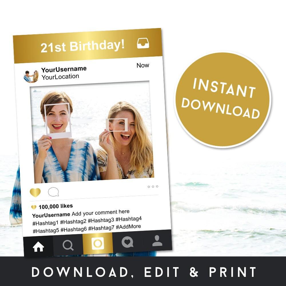 Instagram Rahmen 21. Geburtstag Ideen Selfie Rahmen   Etsy