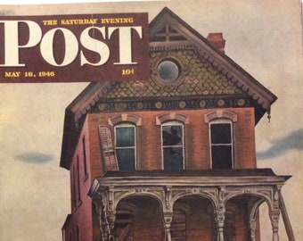 Original The Saturday Evening Post, New Home, May 18, 1946 by John Falter,  10.75 x 13 inches, Good Condition!