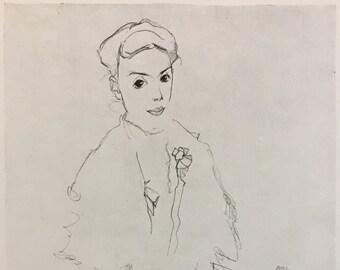 "Egon Schiele ""Little Girl in a Plaited Skirt"" from Egon Schiele-As a Draughtman by Otto Denesch, 1950, 9.25 x 13.5 inches"