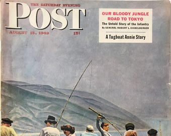 "Original The Saturday Evening Post ""Pier Fishing"" August 13, 1949 By John Falter,  10.75 x 13 inches, Good Condition!"