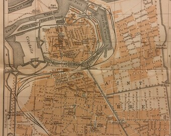Calais Town Plan 1913 Old Antique Vintage Map Chart Antiques Pas-de-calais Art