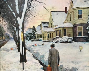 "Original The Saturday Evening Post ""Snowy Ambush"" January 24, 1959 By John Falter,  10.75 x 13 inches, Good Condition!"