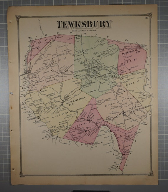 1909 Town Map of Bloomsbury Hunterdon County New Jersey