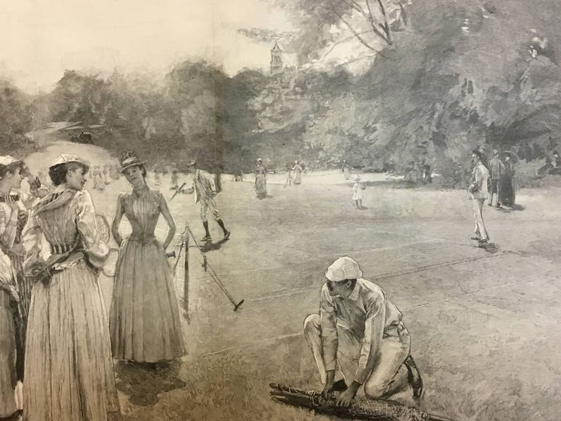 Central Park Drawn by WT Smedley October 5 Harpers Weekly 1889 Excellent Condition The North Meadows Tennis Match