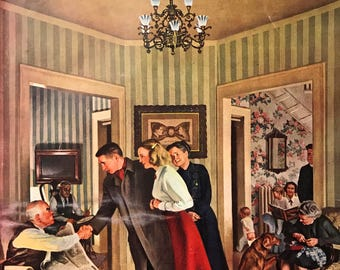 "Original The Saturday Evening Post ""The Tie That Binds"" February 5, 1949 By John Falter, 10.75 x 13 inches, Good Condition!"