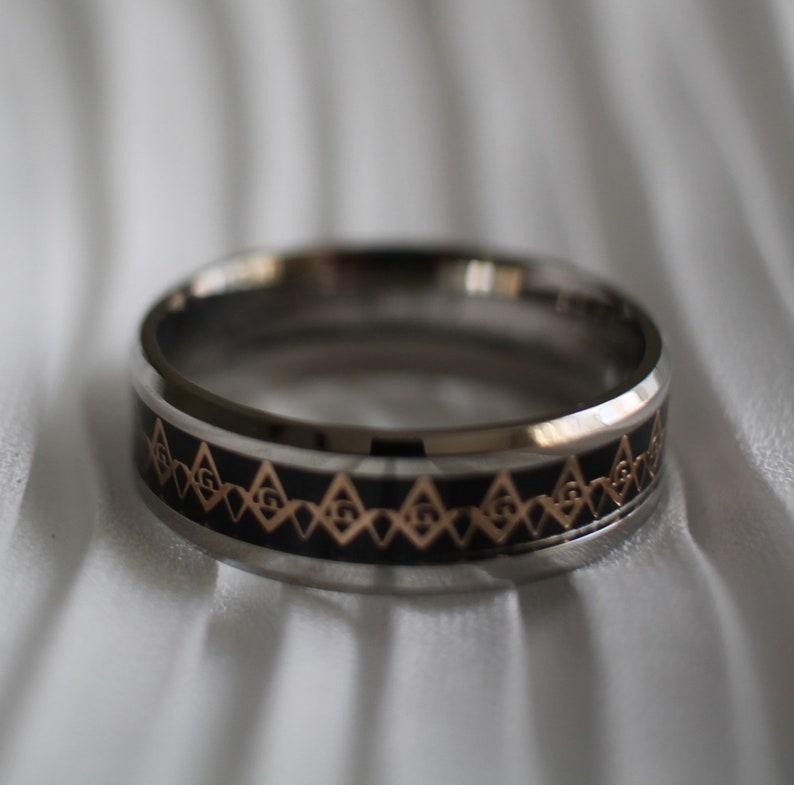 Black and Rose Gold Masonic Ring