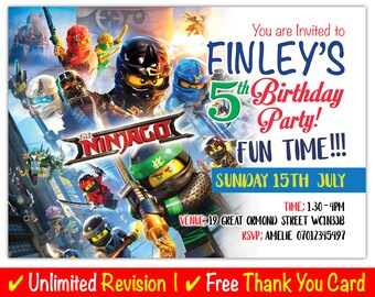 Marvel Lego Ninja Go Birthday Invitation Personalised Invites Party