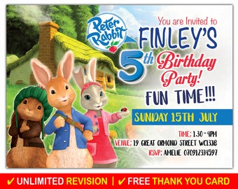 Peter Rabbit Birthday Invitation Personalised Invites Party