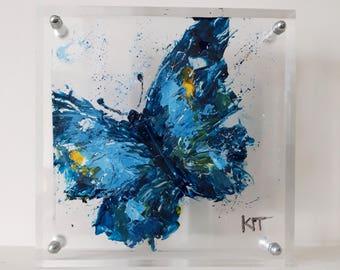 Plexiglass art butterfly painting Gift idea Blue butterfly home decor Living room decor Original painting Acrylic painting Butterfly art