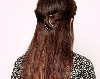 Moon design hair clip barrette
