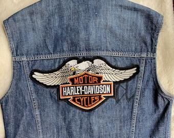 Vintage Harley Davidson Motorbike  Kiss Handmade Men Vest Size M Denim Logo Patches
