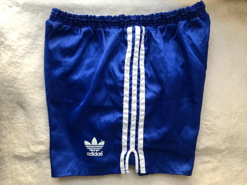 591ca4d48bce4 Vintage Adidas Running Sprinter Nylon Shorts Shinny Size M D6 Blue