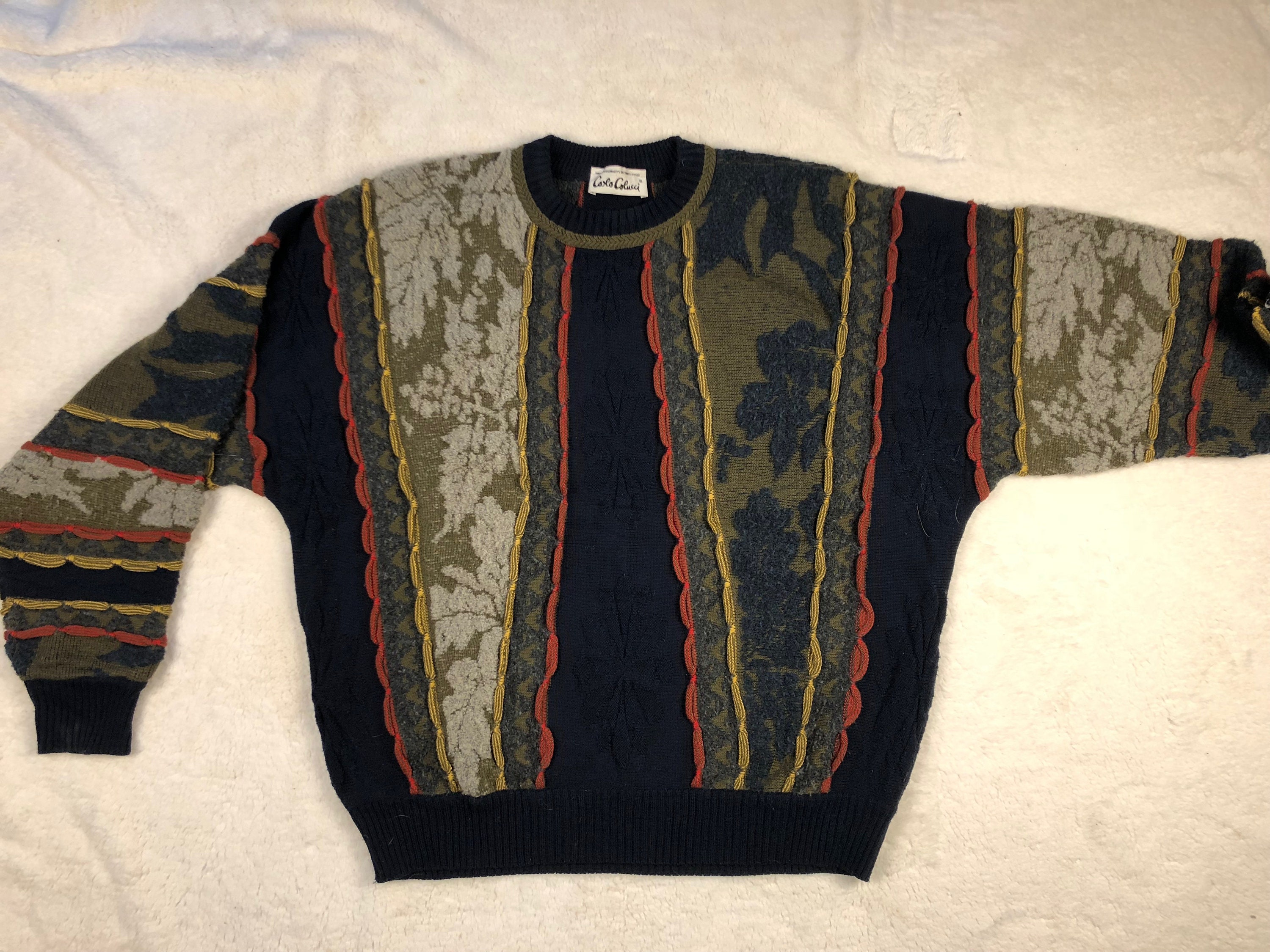 Vintage pull CARLO COLUCCI hommes laine pull Vintage taille L 48 380b13 dacbac71c7c6