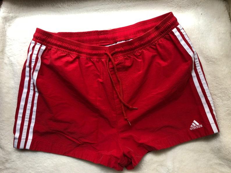 81ec711627dac Vintage Adidas Cotton Nylon Running Sprinter Football Shorts Size L Red