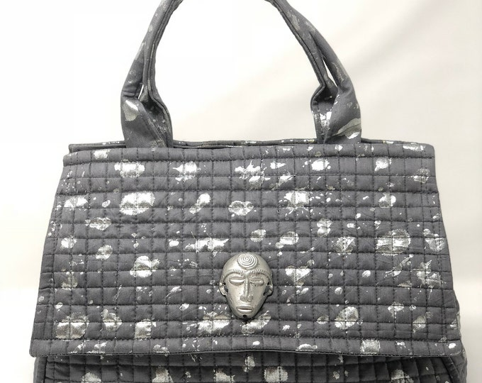 Featured listing image: Medium Grey  with silver splatter paint African Satchel Handbag